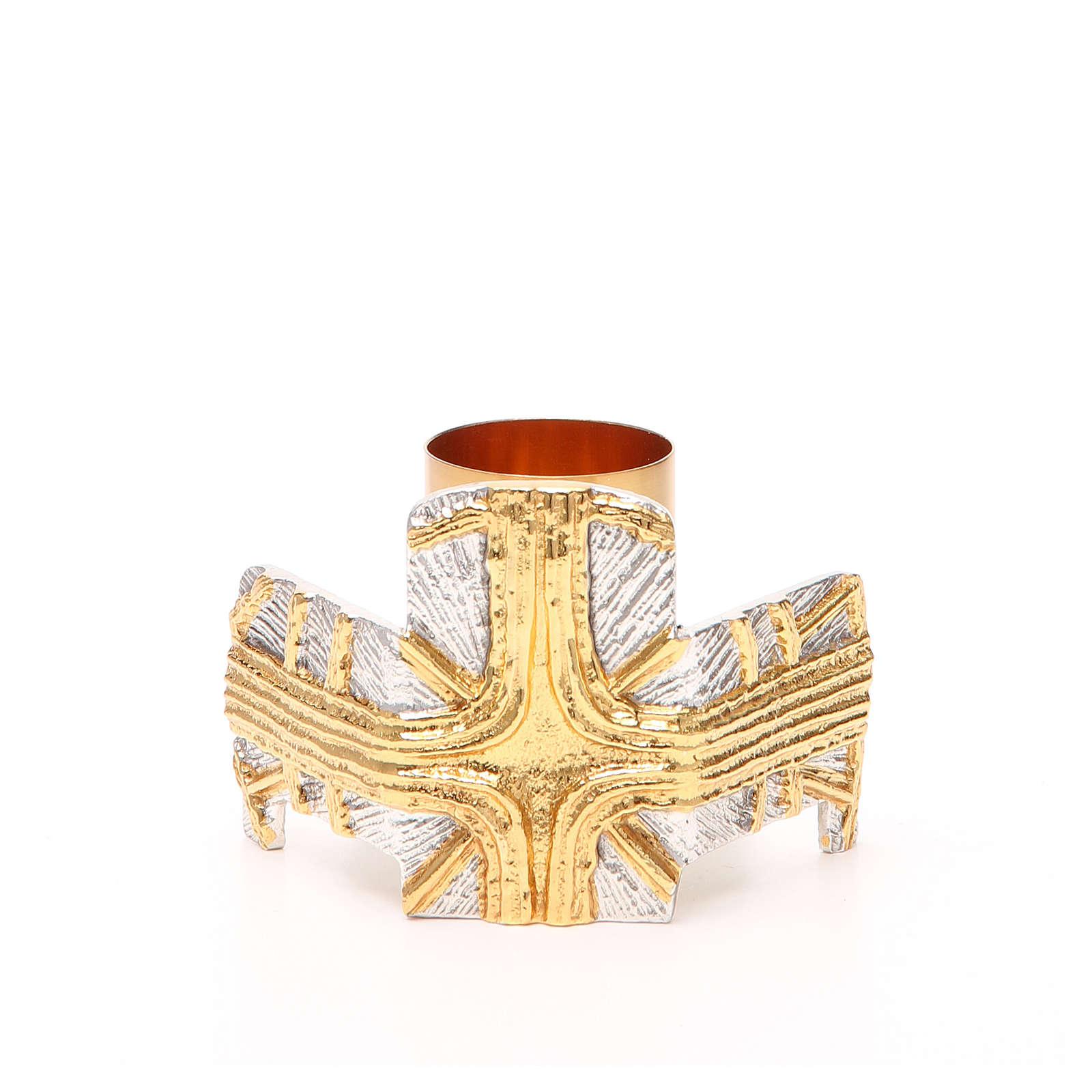 Portacandela bronzo dorato argentato croce e raggi 4