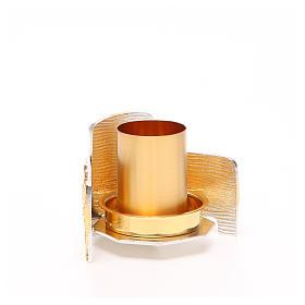 Portacandela bronzo dorato argentato croce e raggi s3
