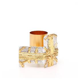 Portacandela bronzo dorato argentato croce e raggi s4