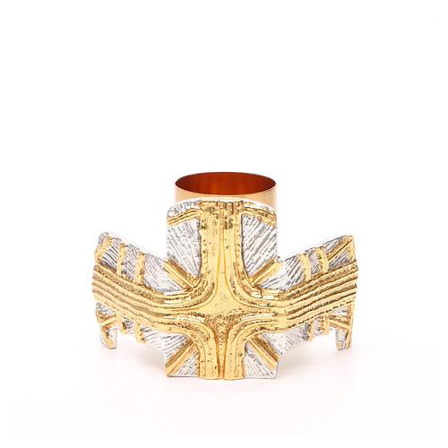 Portacandela bronzo dorato argentato croce e raggi 1