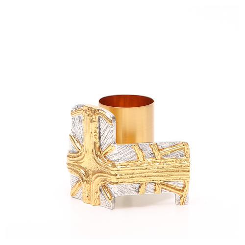 Portacandela bronzo dorato argentato croce e raggi 2