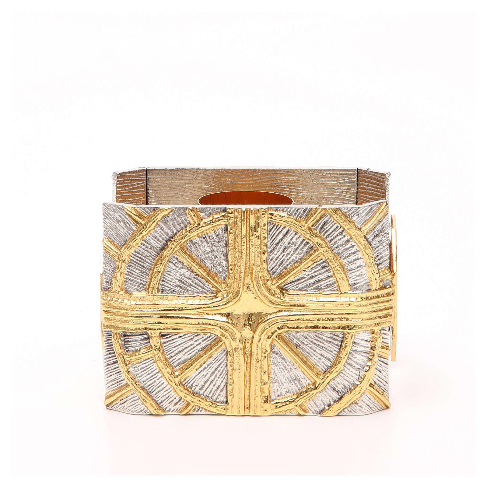 Portacandela bronzo dorato argentato croce raggi 4
