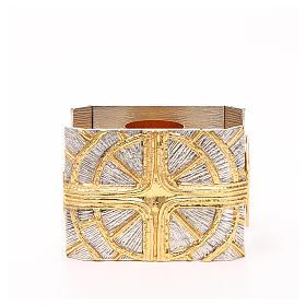 Portacandela bronzo dorato argentato croce raggi s1
