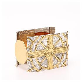 Portacandela bronzo dorato argentato croce raggi s3