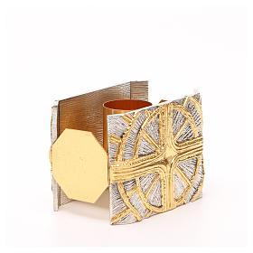 Portacandela bronzo dorato argentato croce raggi s4