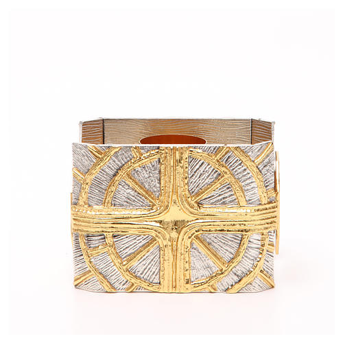 Portacandela bronzo dorato argentato croce raggi 1