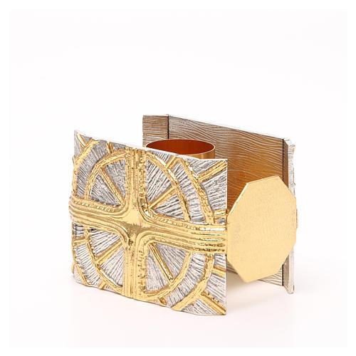 Portacandela bronzo dorato argentato croce raggi 2