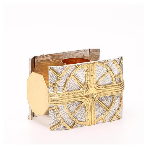 Portacandela bronzo dorato argentato croce raggi 3