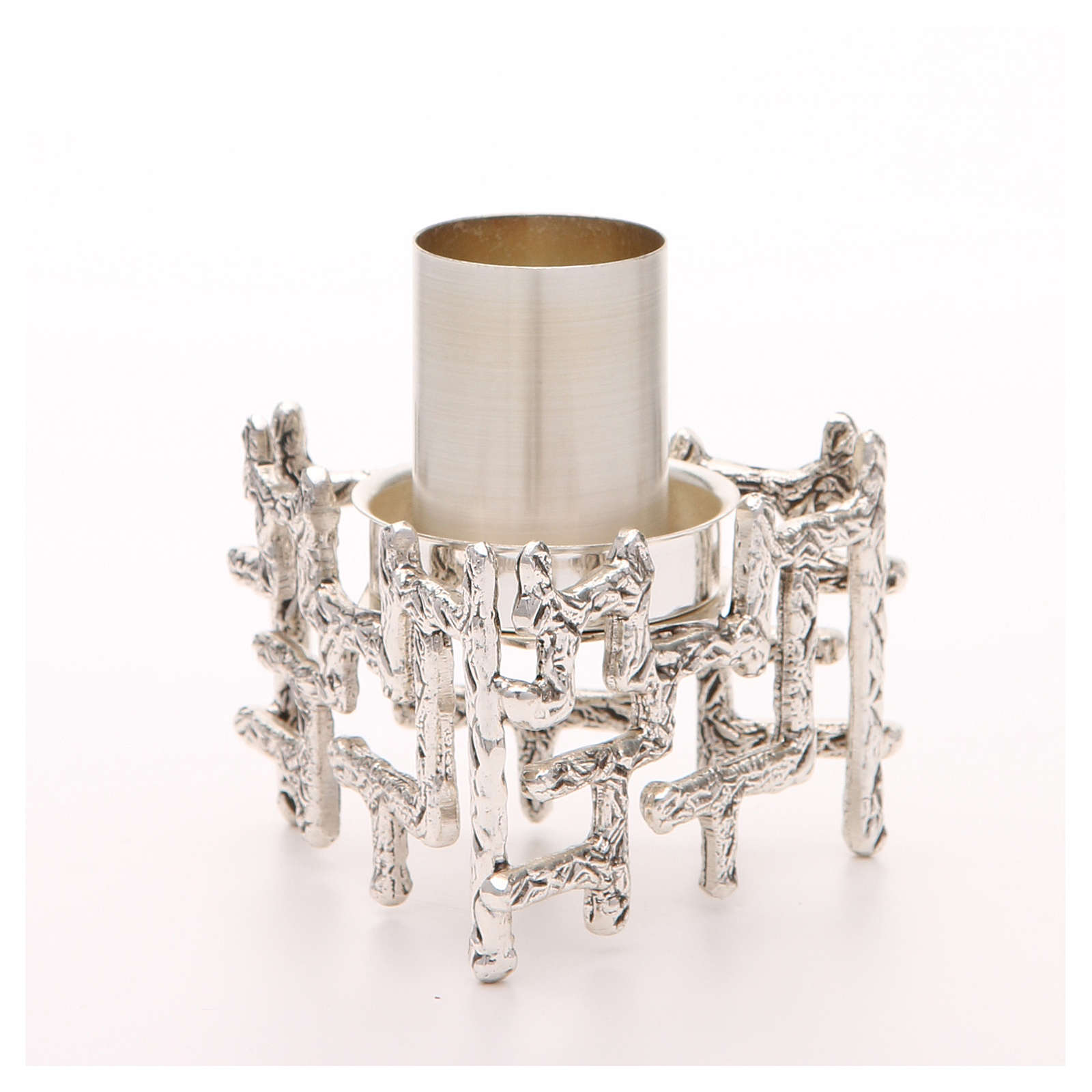 Altar candlestick in silvered bronze, decorated 4