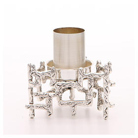 Altar candlestick in silvered bronze, decorated s1