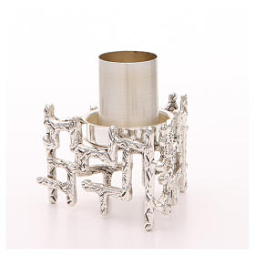 Altar candlestick in silvered bronze, decorated s2