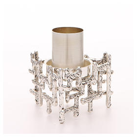 Altar candlestick in silvered bronze, decorated s4