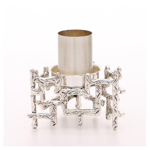 Altar candlestick in silvered bronze, decorated 1