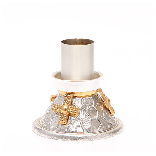Chandelier bronze argenté croix dorée 3
