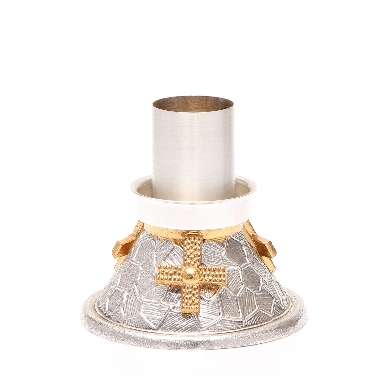 Portacandela bronzo argentato croce dorata 4