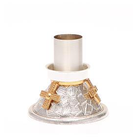 Portacandela bronzo argentato croce dorata s2