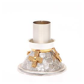 Portacandela bronzo argentato croce dorata s3