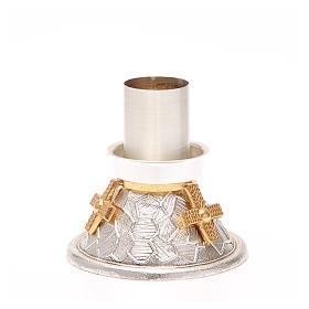Portacandela bronzo argentato croce dorata s4