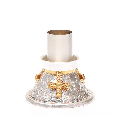 Portacandela bronzo argentato croce dorata 1