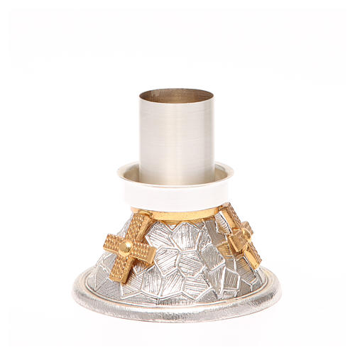 Portacandela bronzo argentato croce dorata 2