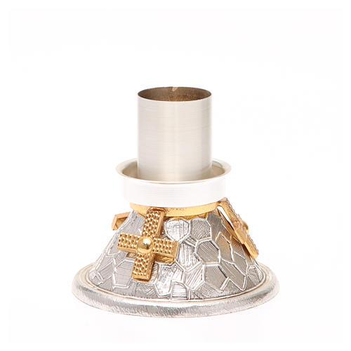Portacandela bronzo argentato croce dorata 3