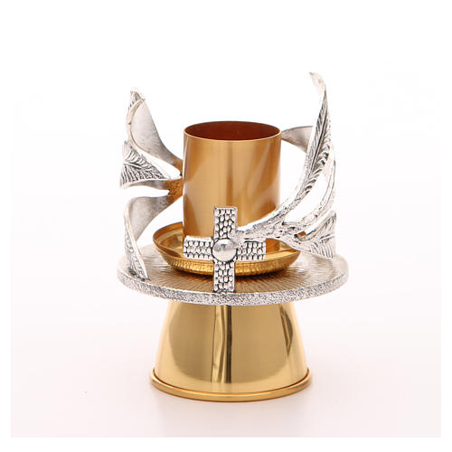 Altar candle holder with silvered leaves 1