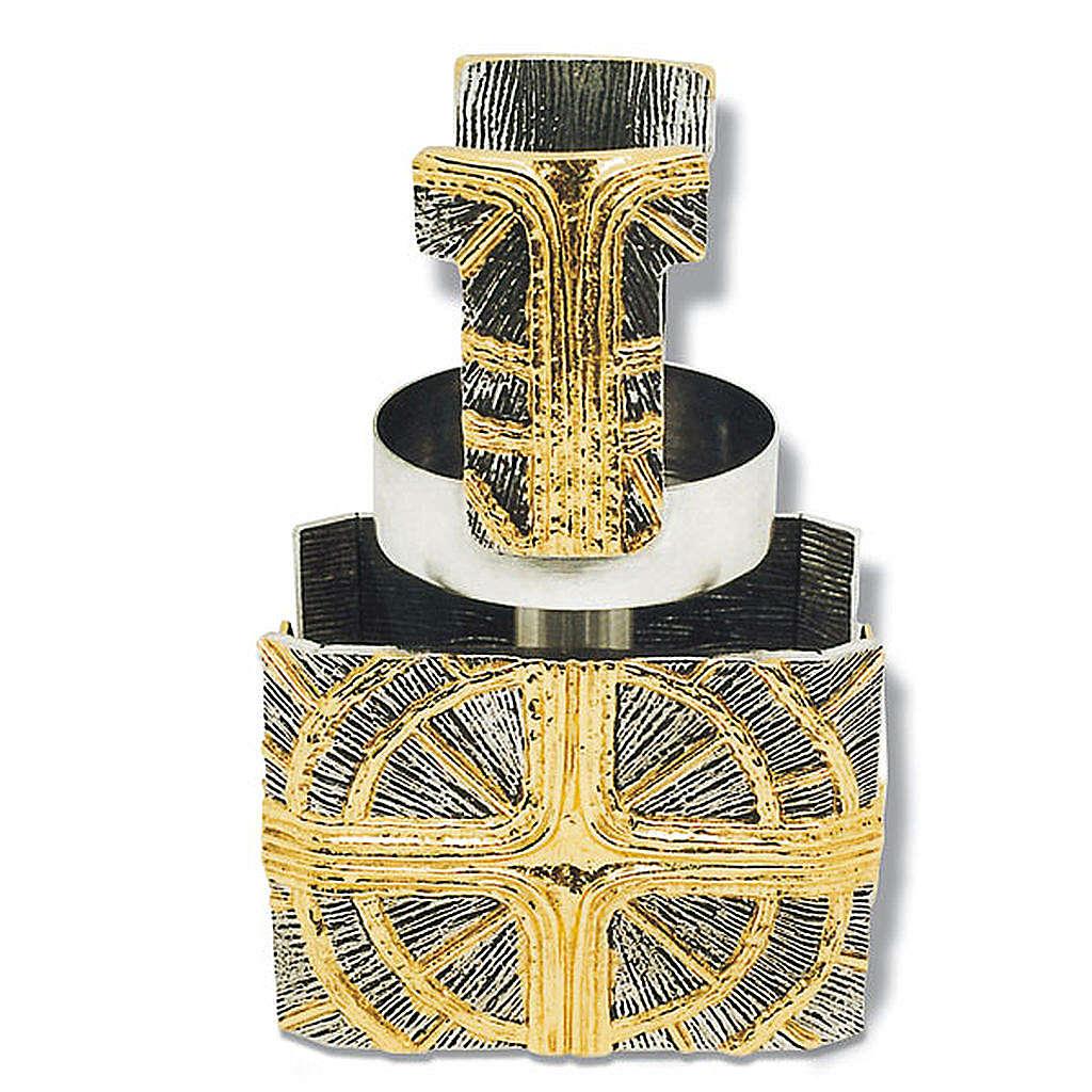 Lampada da mensa bronzo dorato argentato croce raggi 4