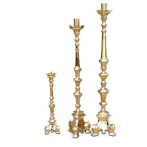 Baroque candlestick, golden brass 1