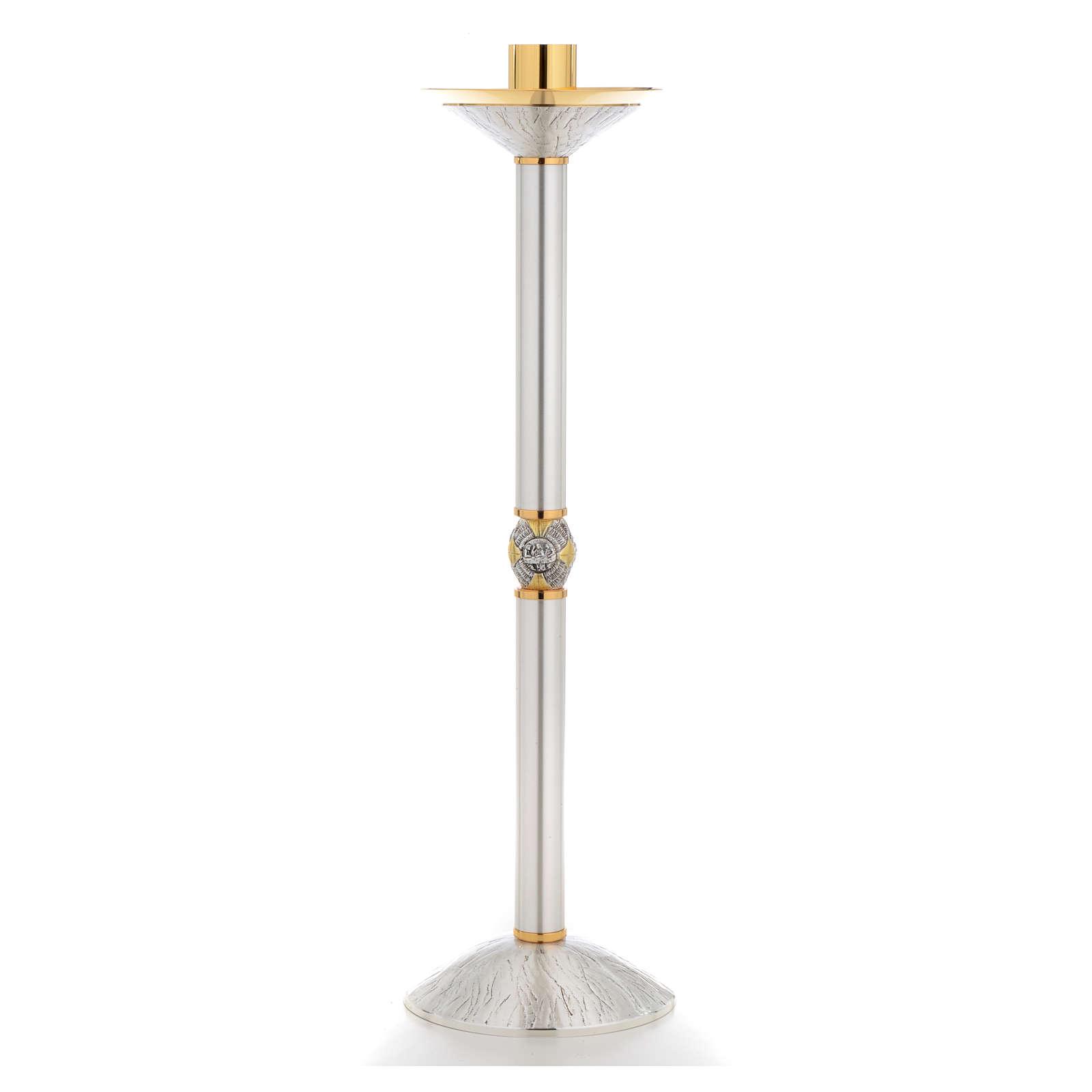 Candeliere ottone argentato con nodo cesellato 4