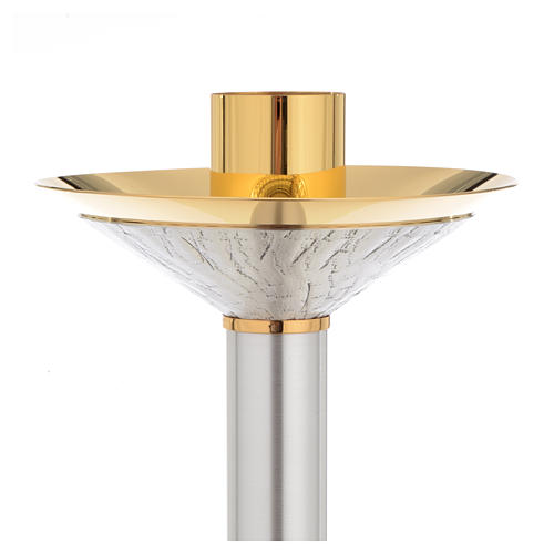 Candeliere ottone argentato con nodo cesellato 2