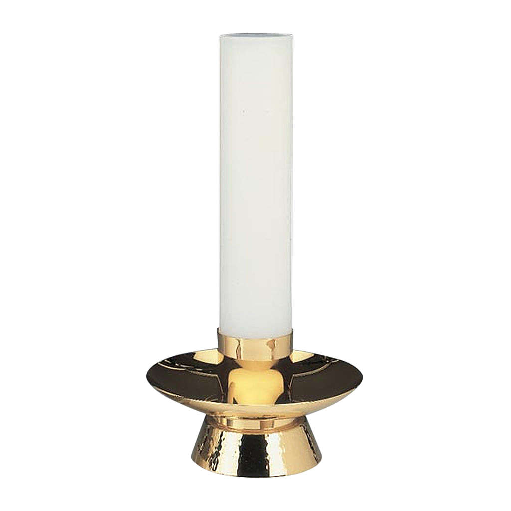 Candeliere ottone dorato lucido martellato 4