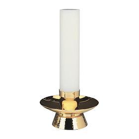 Candeliere ottone dorato lucido martellato s1