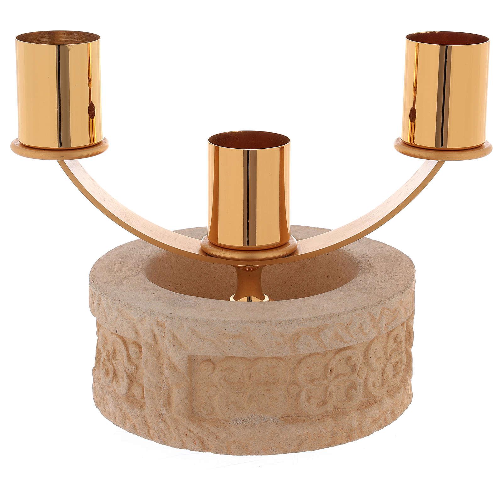 Candelabro 3 llamas cerámica arena de cuarzo 4