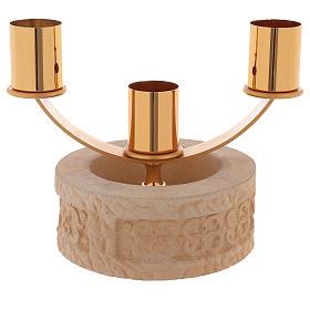 Candelabro 3 llamas cerámica arena de cuarzo s1