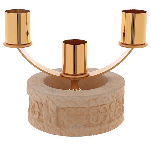 Candelabro 3 llamas cerámica arena de cuarzo 1