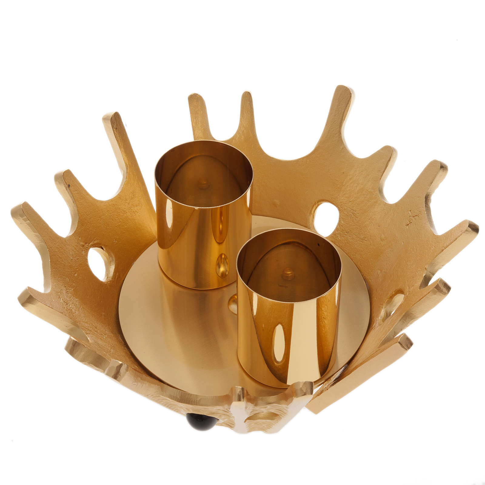 Candeliere doppia candela ottone dorato pietre viola 4