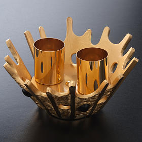 Candeliere doppia candela ottone dorato pietre viola s4