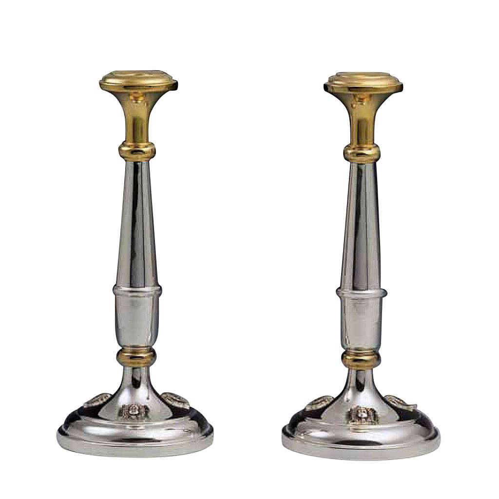 Pareja de candelabros plata 800 detalles dorados 4