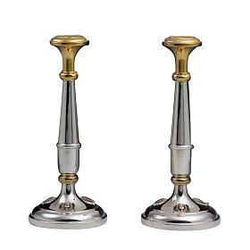 Pareja de candelabros plata 800 detalles dorados s1