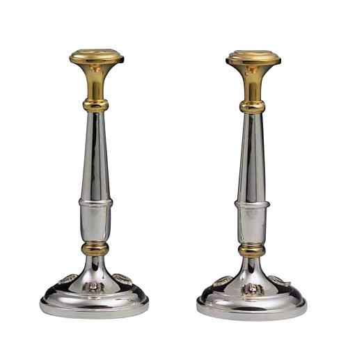 Pareja de candelabros plata 800 detalles dorados 1