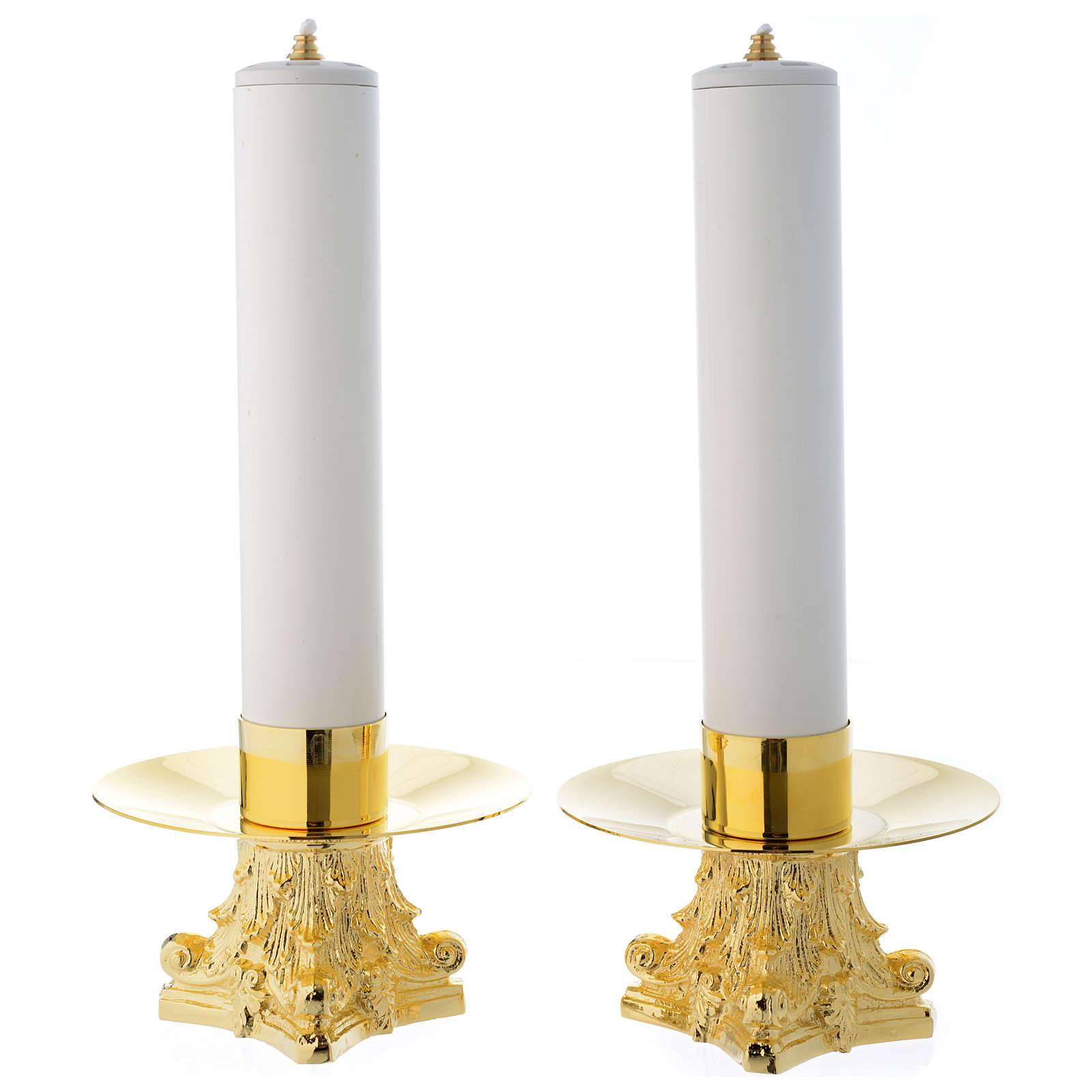 Jogo castiçais e velas falsas pvc 4