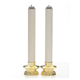 Metal candle holders: Candle set with fake candles and candle holders, two pieces