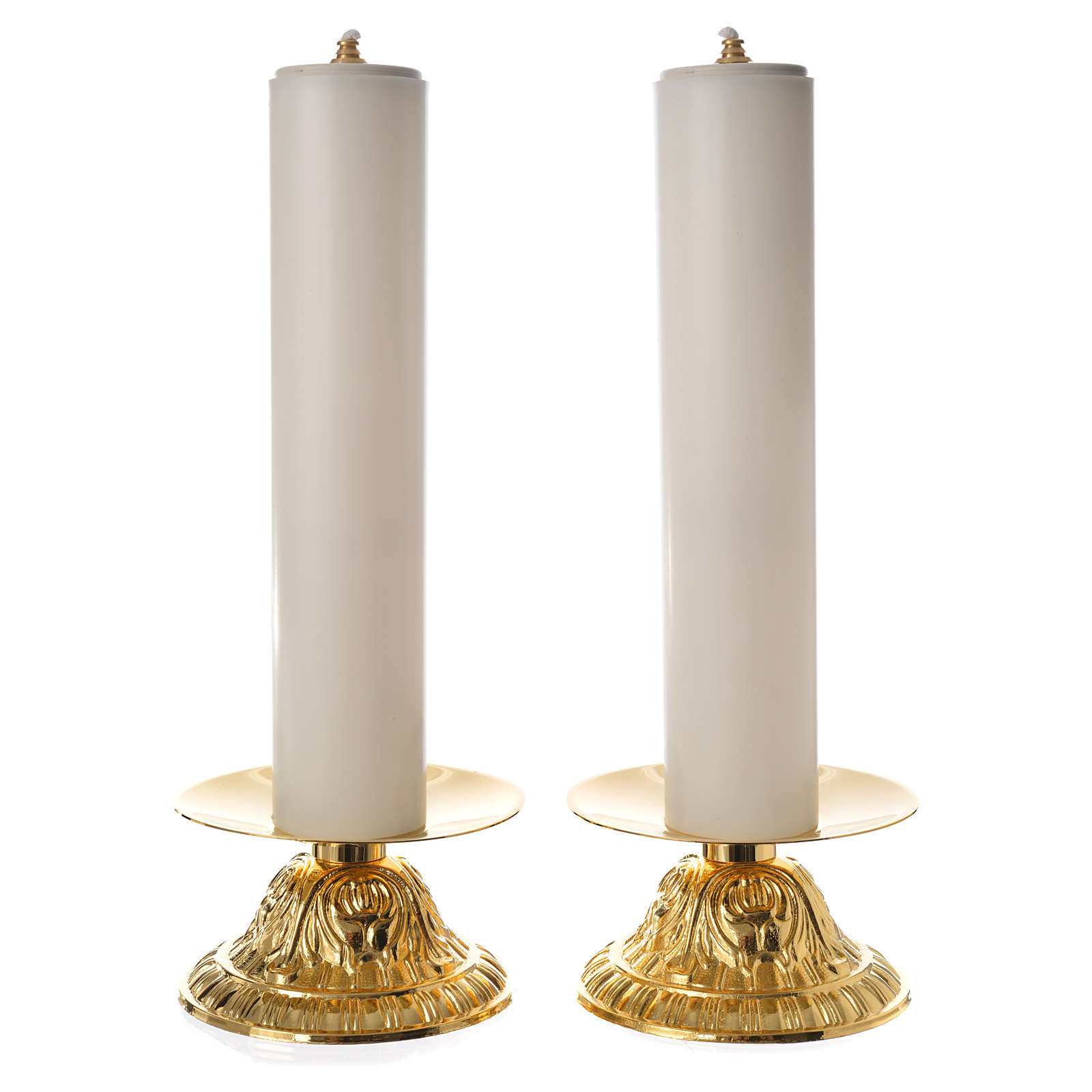 Candle holders with fake candles, 2pcs 4