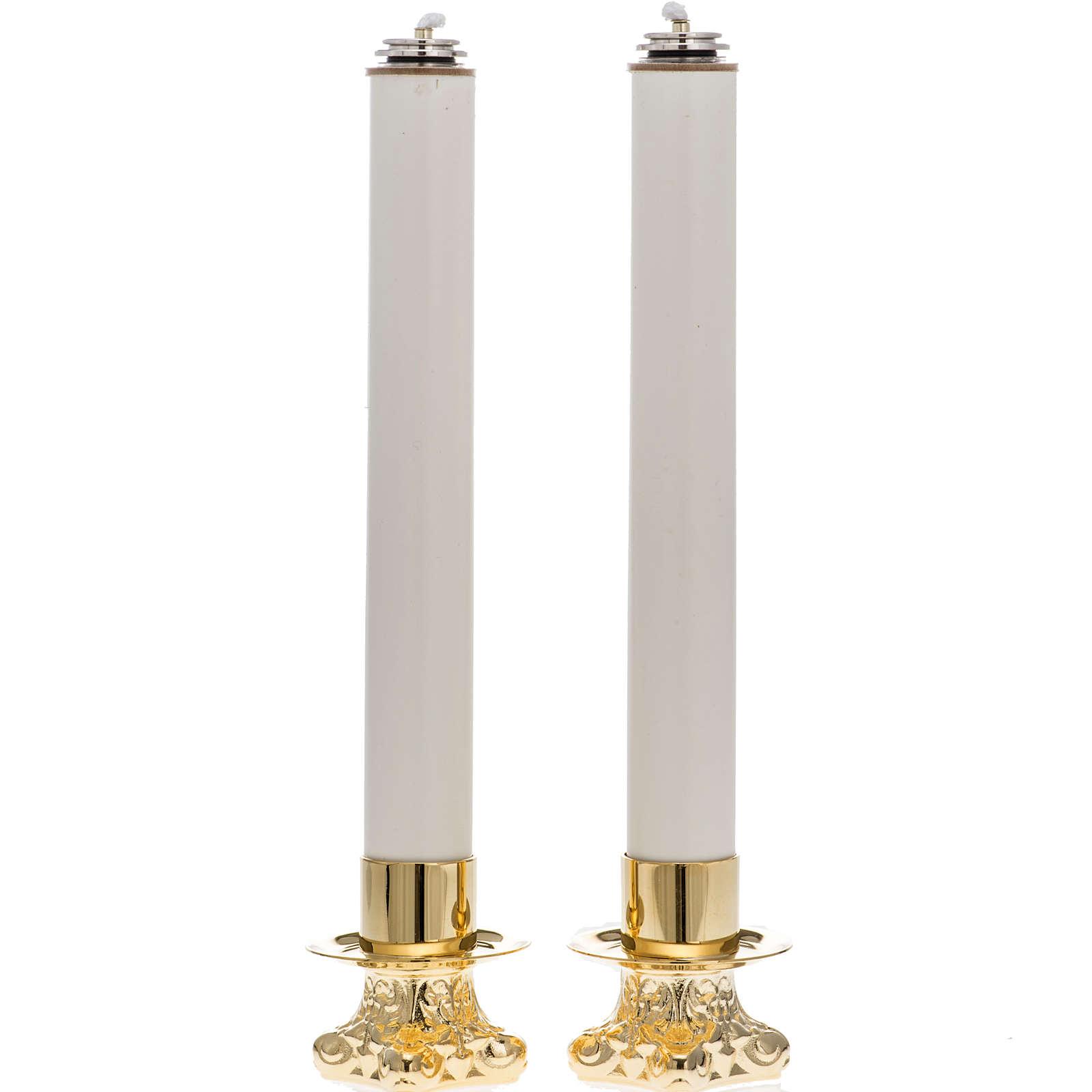 Candelabros con base dorada y velas falsas 4
