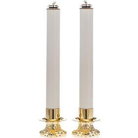 Candelabros con base dorada y velas falsas s1