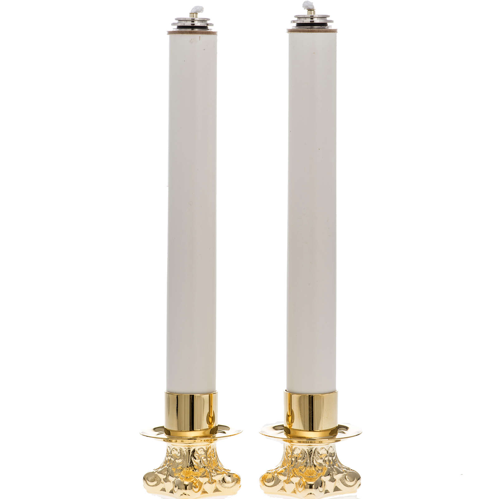 Pair of altar candle holders and candles 4