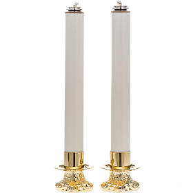 Pair of altar candle holders and candles s1