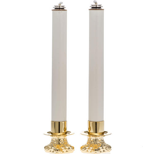 Pair of altar candle holders and candles 1