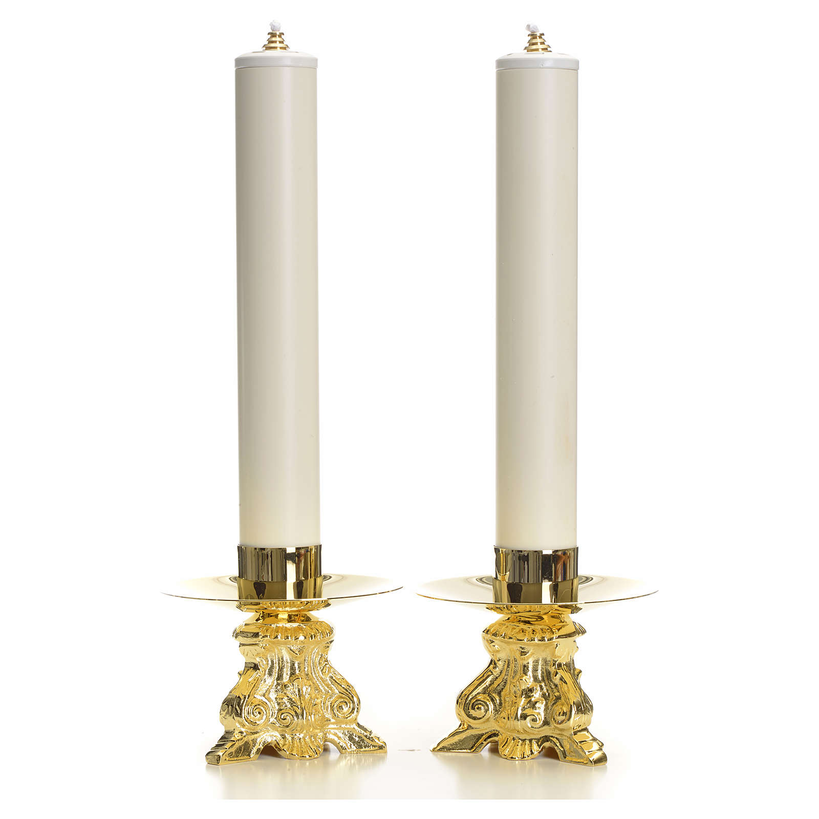 Altar set, baroque style with candle holders and candles 4