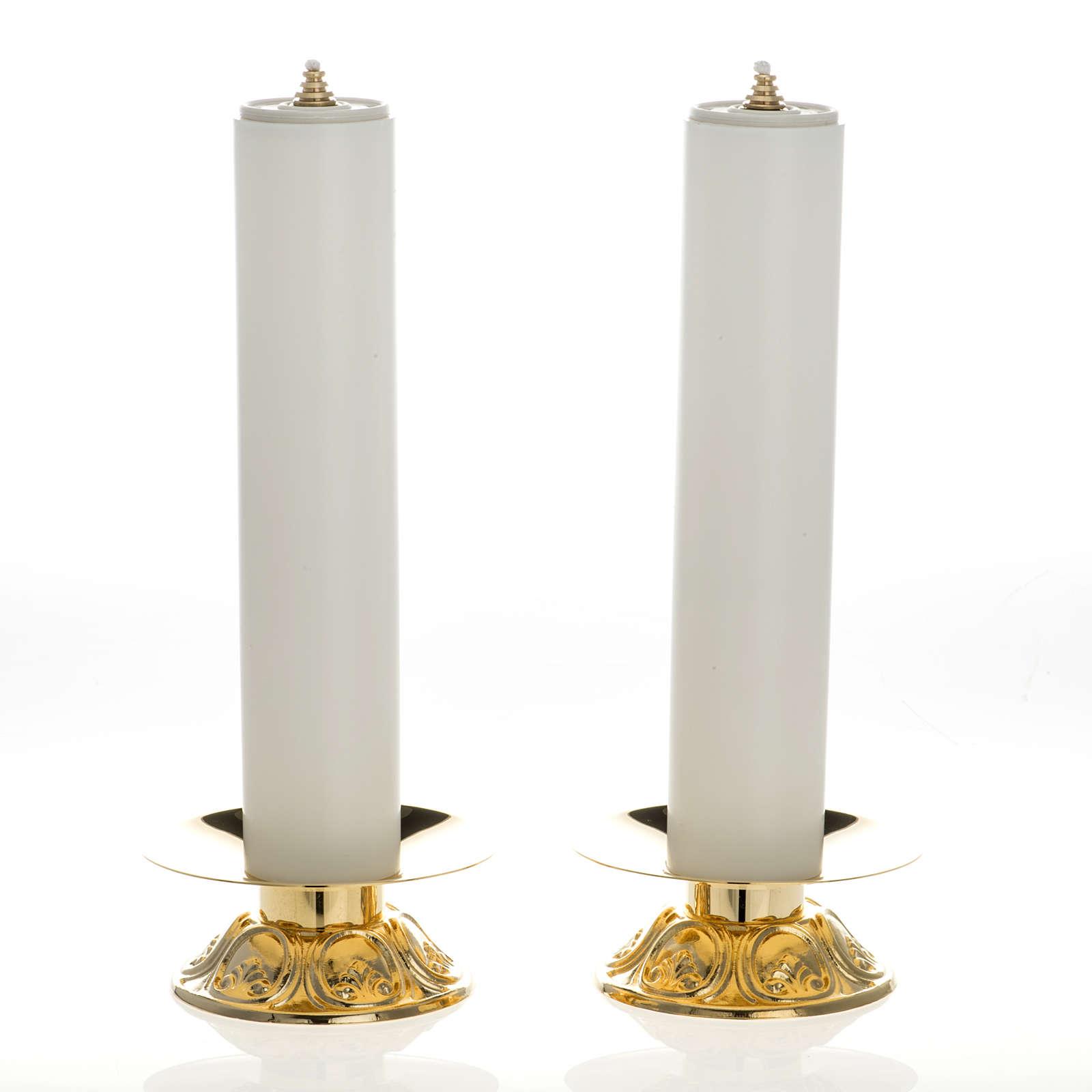 Chandeliers laiton avec bougies à cire liquide lot 2 pcs 4